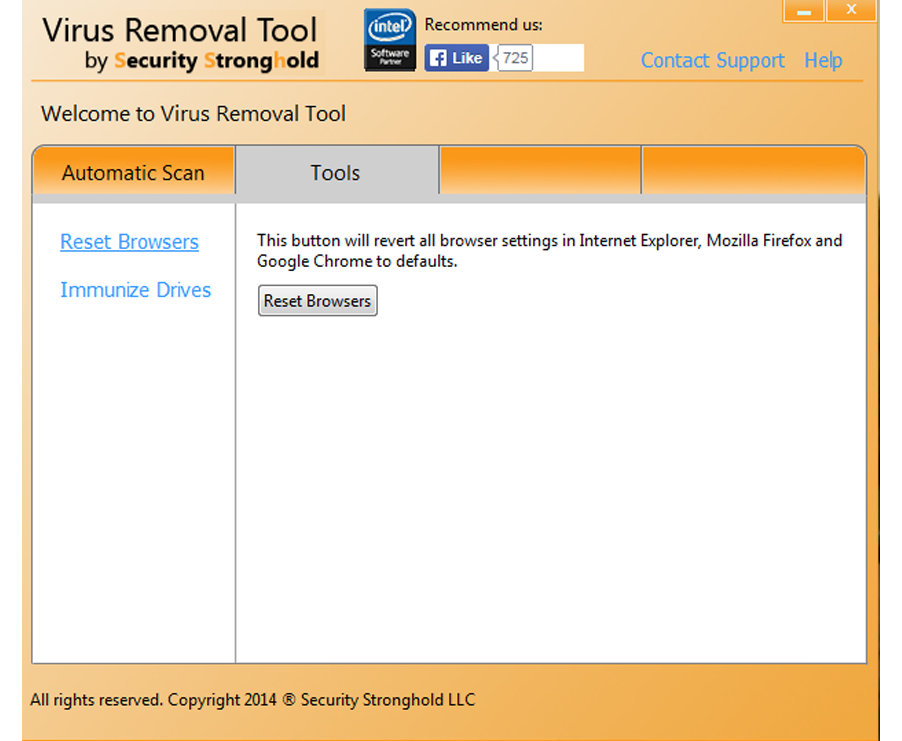 Remove add-ons with Virus Removal Tool