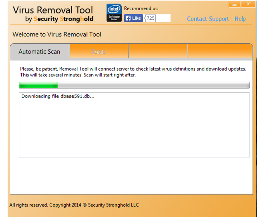 Update Virus Removal Tool in order to 100% remove virus